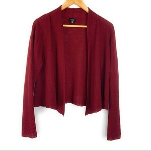 Eileen Fisher Knit Open Front Cardigan in Red